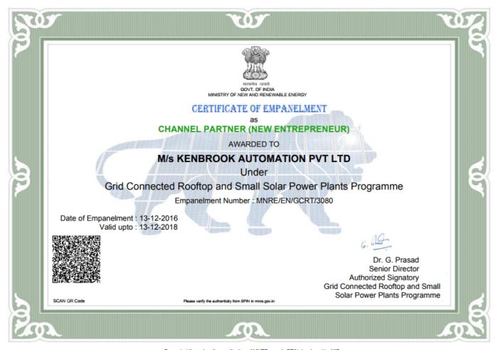 Kenbrook MNRE Certificate