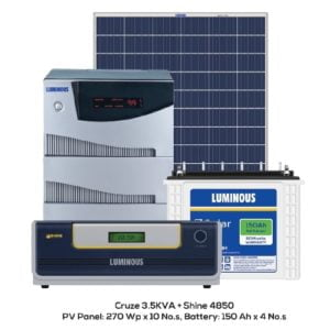 3kW Luminous Solar Complete System Panels, 3.5kVA Cruze Combo Inverter & Battery