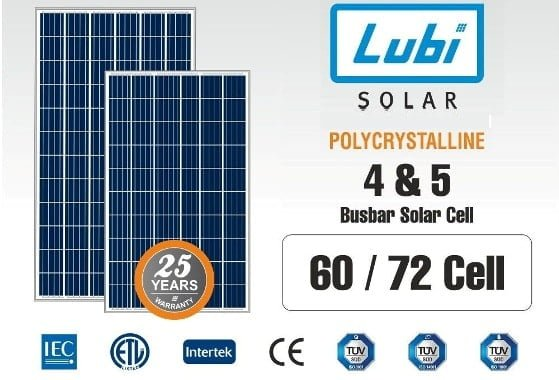 Lubi Poly-Crystalline Solar Panels Price List in India